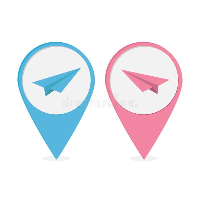套与origami纸飞机象的地图尖。蓝色和蓝色 向量例证