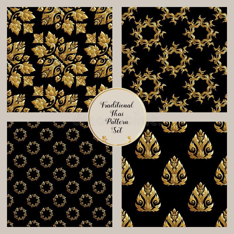 套与traditi的金装饰元素的无缝的样式 库存例证
