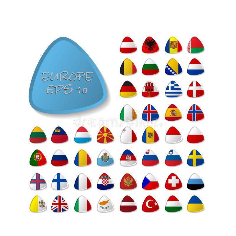 套世界下垂围绕徽章 欧洲 10 eps 库存例证