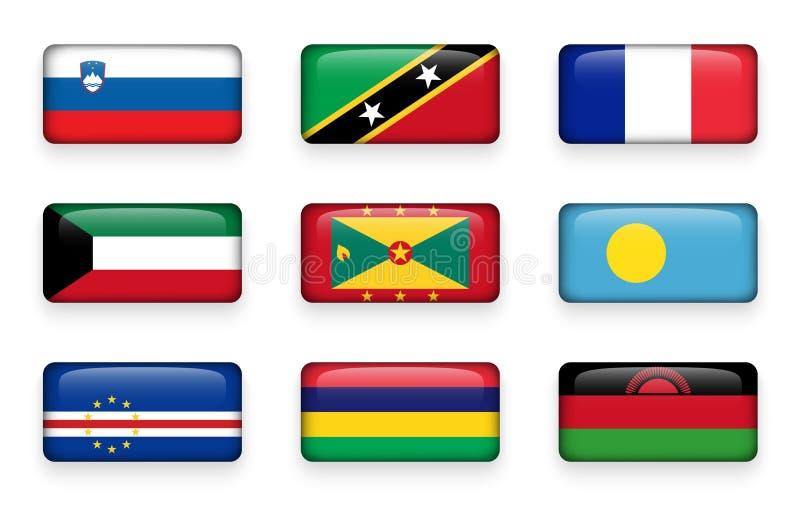套世界下垂长方形按钮斯洛文尼亚 圣基茨和尼维斯 法国 科威特 格林那达 帕劳 佛得角 Mauriti 库存例证