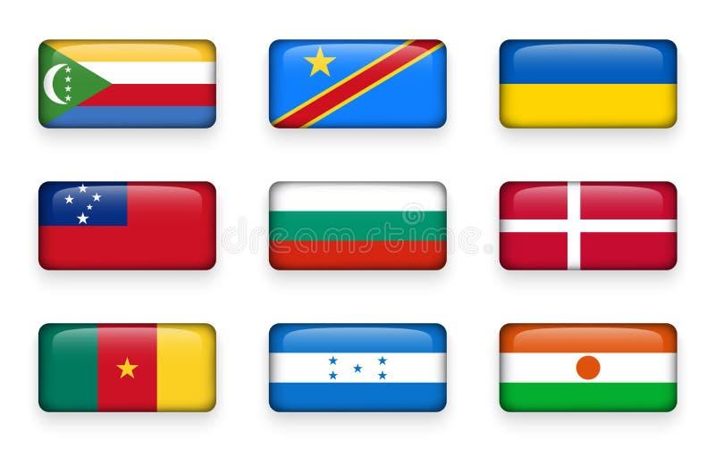 套世界下垂长方形按钮科摩罗 刚果人民共和国 乌克兰 萨摩亚,保加利亚 丹麦 Cameroo 皇族释放例证