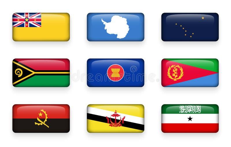 套世界下垂长方形按钮纽埃 在前 飞机场 瓦努阿图 东南亚国家联盟 厄立特里亚 安格斯 文莱达鲁萨兰 Somal 皇族释放例证
