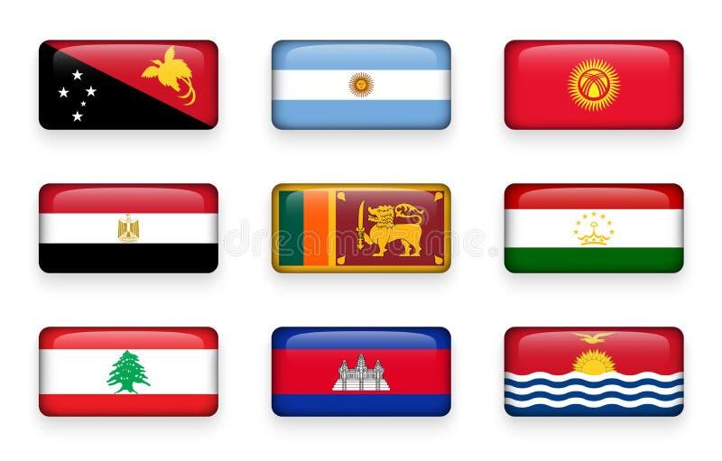 套世界下垂长方形按钮巴布亚新几内亚 阿根廷 吉尔吉斯斯坦 埃及 斯里南卡 塔吉克斯坦 黎巴嫩 Cambo 库存例证