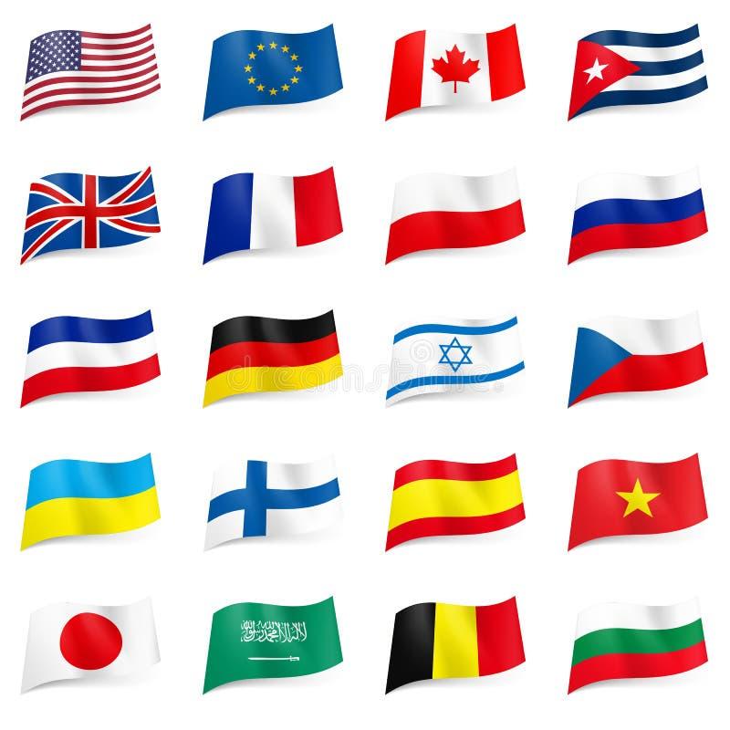 套世界标记图标 皇族释放例证