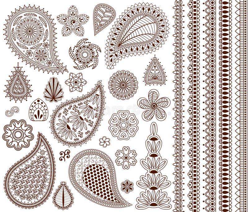 套东方装饰品无刺指甲花纹身花刺的和您的设计的 库存例证