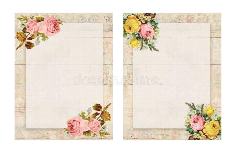 套两可印的葡萄酒破旧的别致的样式花卉玫瑰固定式在木背景 皇族释放例证