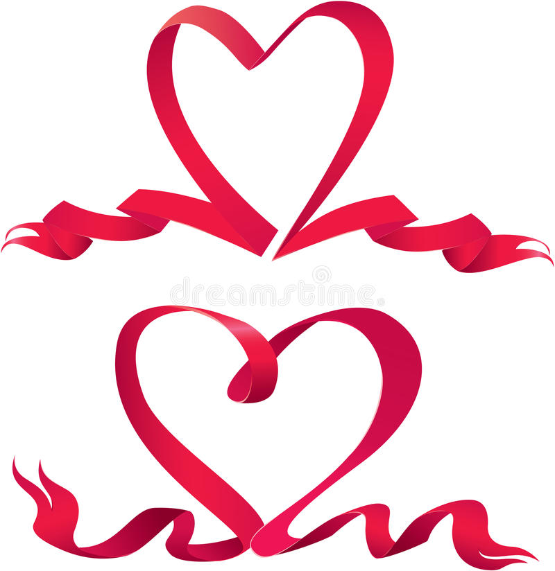 套两条红色丝带在心脏形状被做。 皇族释放例证