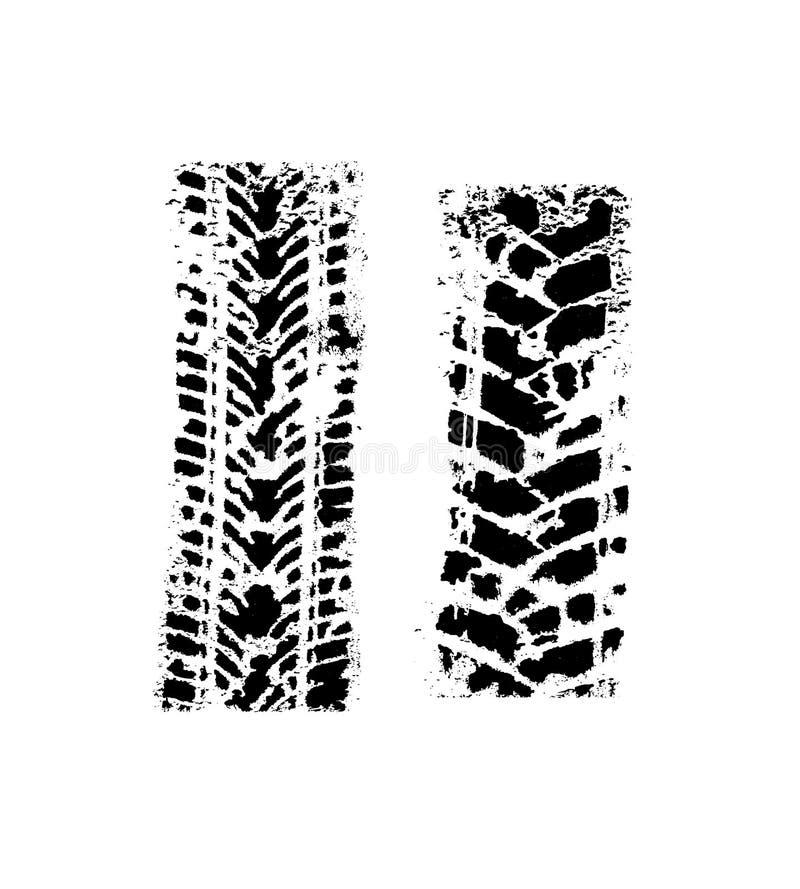 套两条轮胎轨道 向量例证