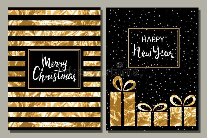 套两贺卡 圣诞快乐和新年快乐手拉的题字 金叶 向量例证