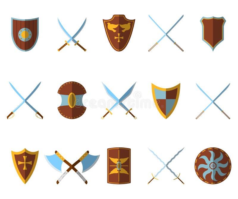 套中世纪盾和武器象和标签 平的样式 Ve 皇族释放例证