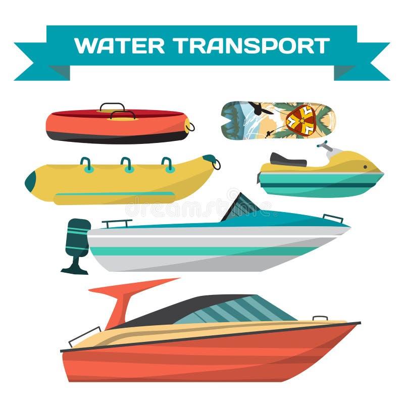 套乘坐的水车在海滩 向量例证