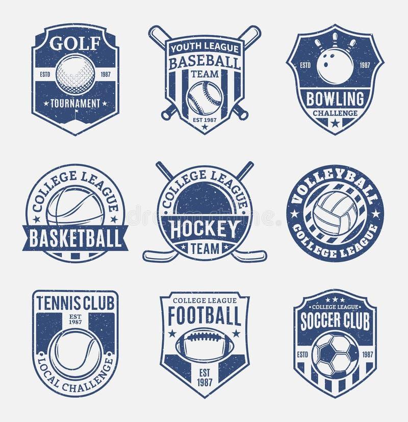 套九个体育学科的减速火箭的被称呼的体育队商标 皇族释放例证
