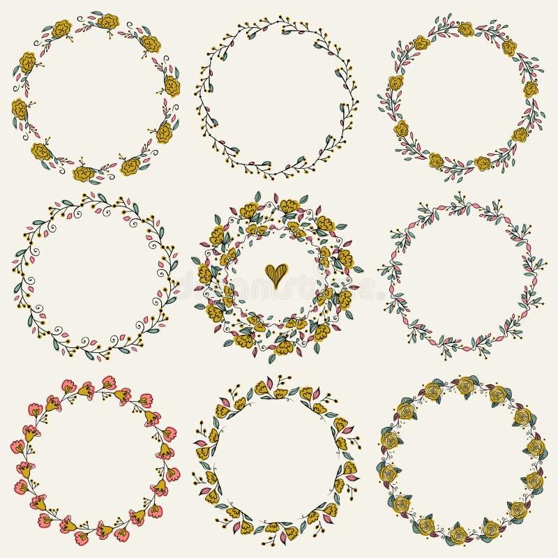套九个手凹道月桂树花圈 剪影框架,手拉在葡萄酒样式 库存例证