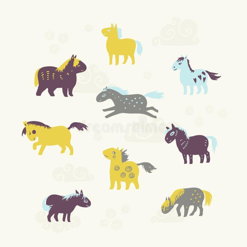 套九匹逗人喜爱的马 免版税库存图片