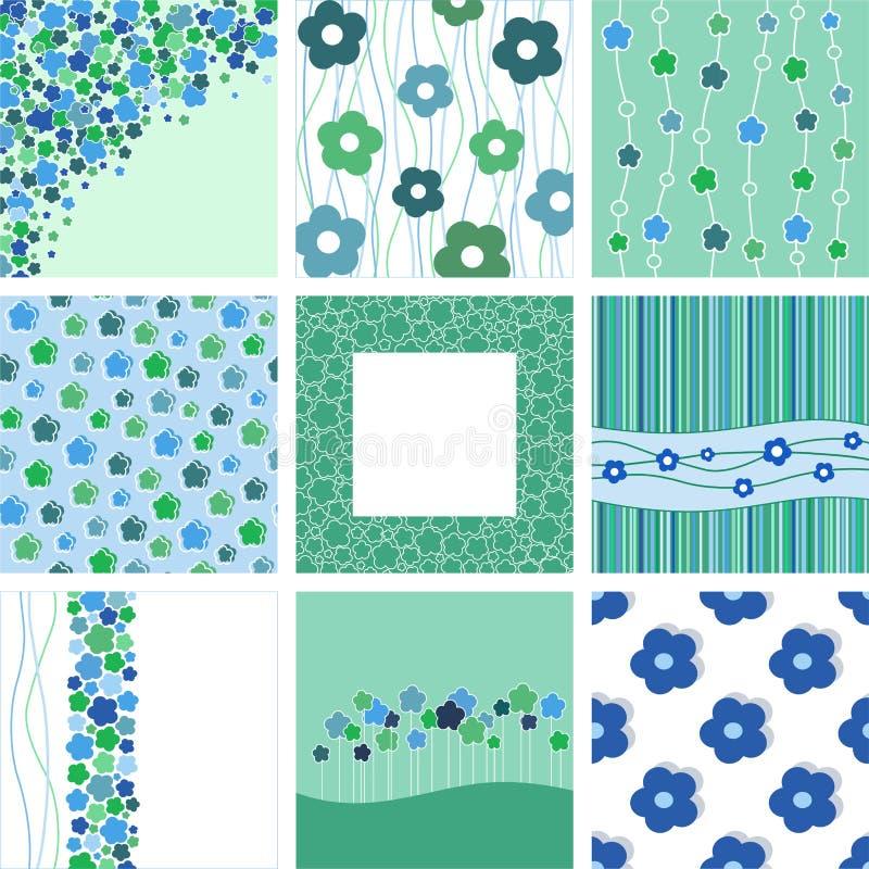 套九抽象花卉背景。 库存例证
