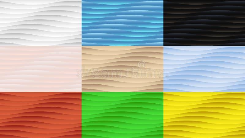 套九无缝的波浪凸面抽象背景 向量例证