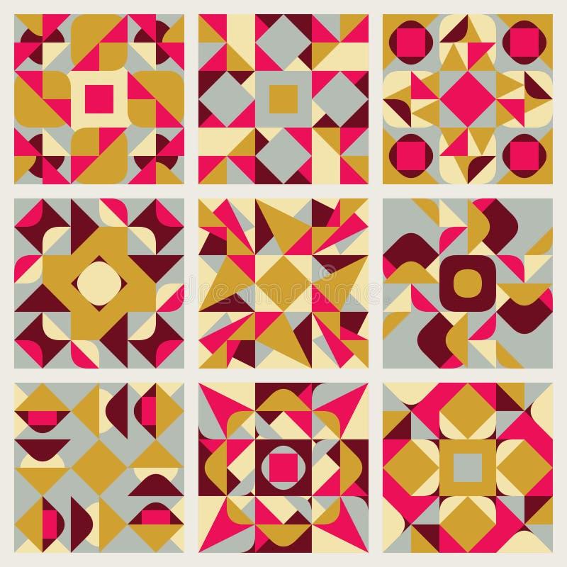 套九种传染媒介无缝的蓝色桃红色黄色白色颜色减速火箭的几何种族方形的被子样式收藏 库存例证