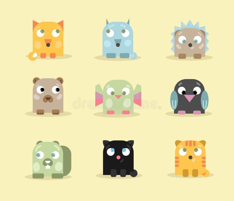 套九逗人喜爱和滑稽的小的动物 向量例证