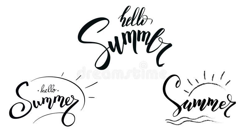 套书法文本夏天设计  在白色背景隔绝的手写的字法你好夏天 模板为 皇族释放例证