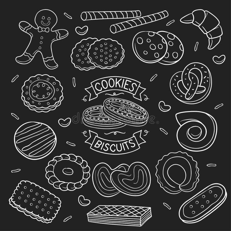 套乱画曲奇饼和饼干在黑板 库存例证