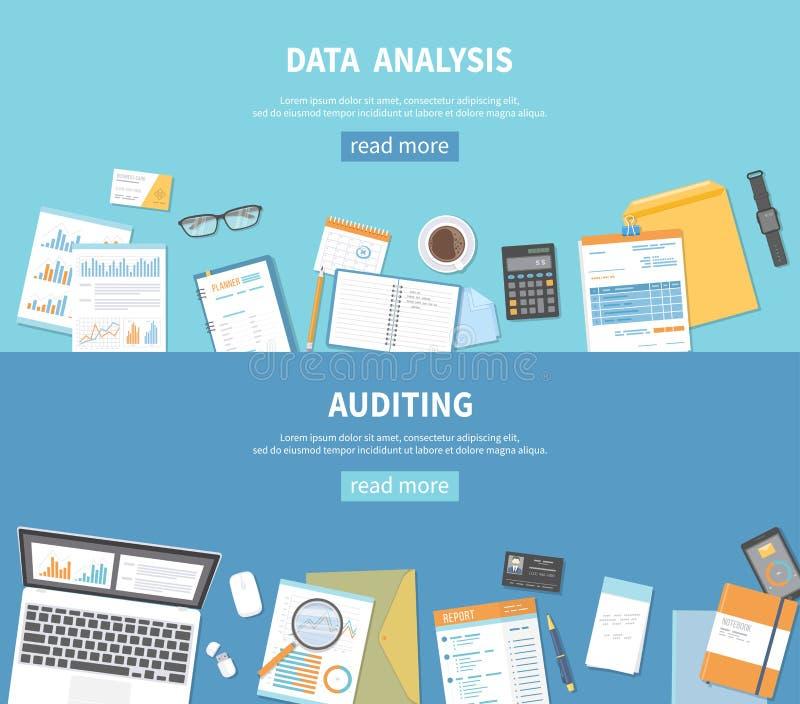 套事务和财务的横幅背景 验核,数据分析,逻辑分析方法,认为 文件,文件夹,笔记本 皇族释放例证