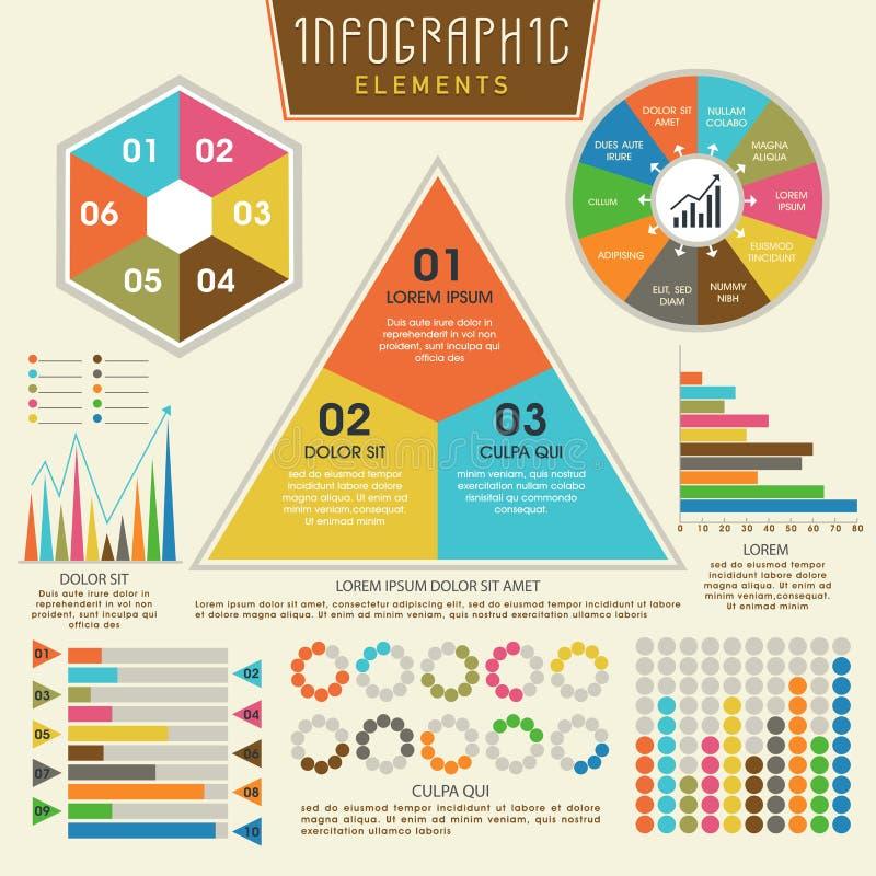 套事务的五颜六色的infographic元素 向量例证
