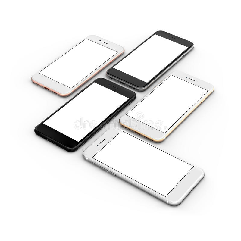 套五个智能手机金子,上升了,变成银色,染黑并且染黑优美 皇族释放例证