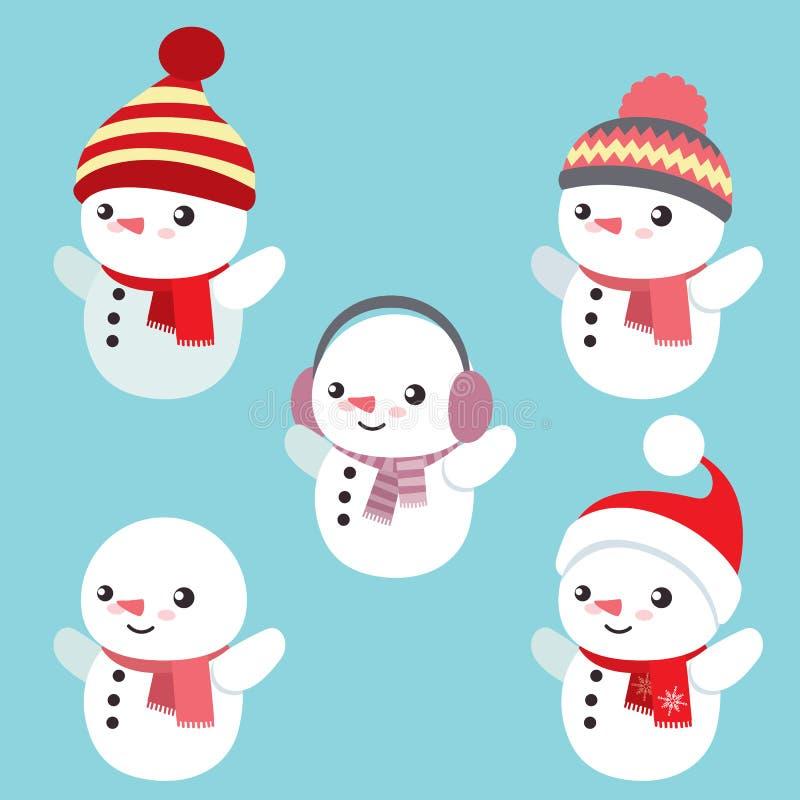 套五个逗人喜爱的雪人 库存例证