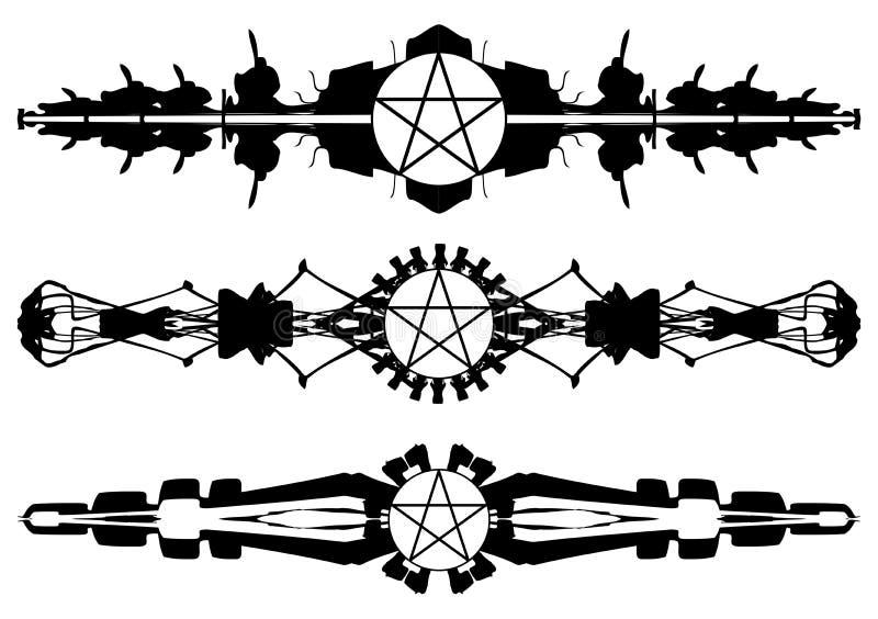 套五芒星形纹身花刺 皇族释放例证