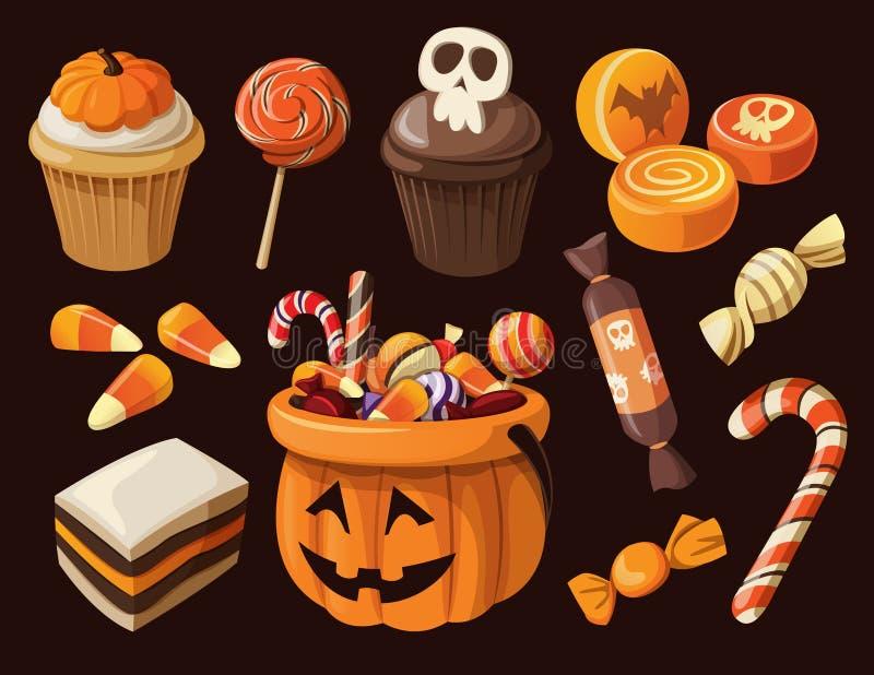 套五颜六色的万圣节甜点和糖果 库存例证