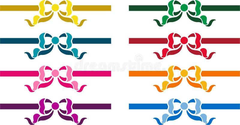 套五颜六色的丝带 向量例证