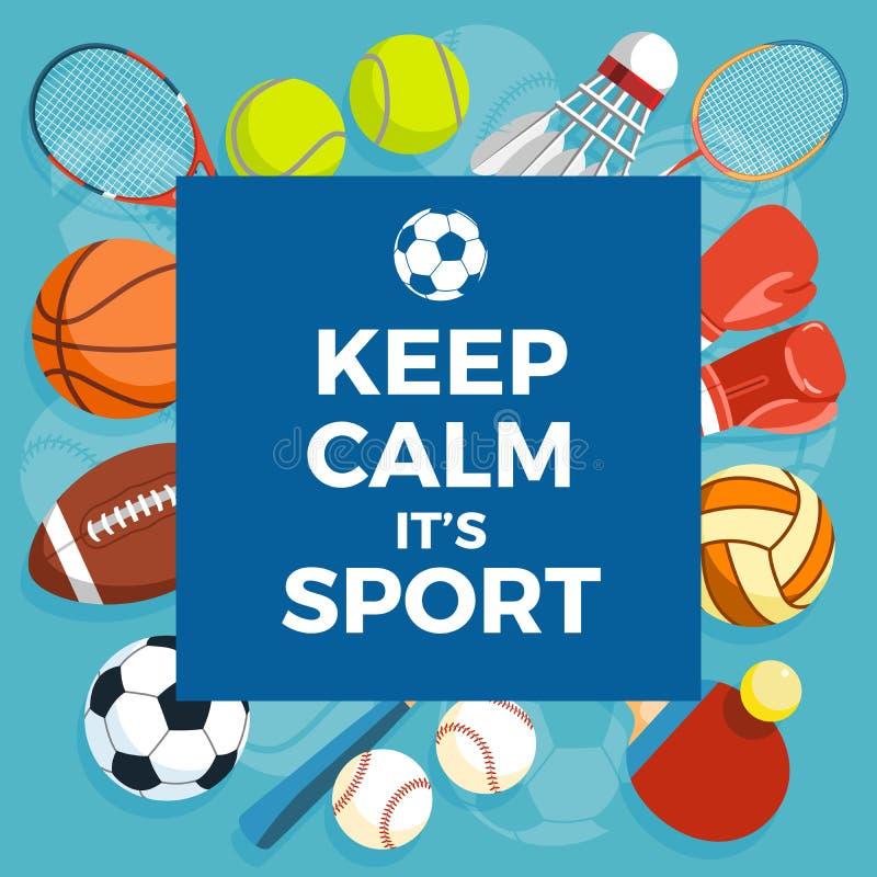 套五颜六色的体育球和赌博项目在蓝色背景 题字保持镇静它是体育 健康生活方式 皇族释放例证
