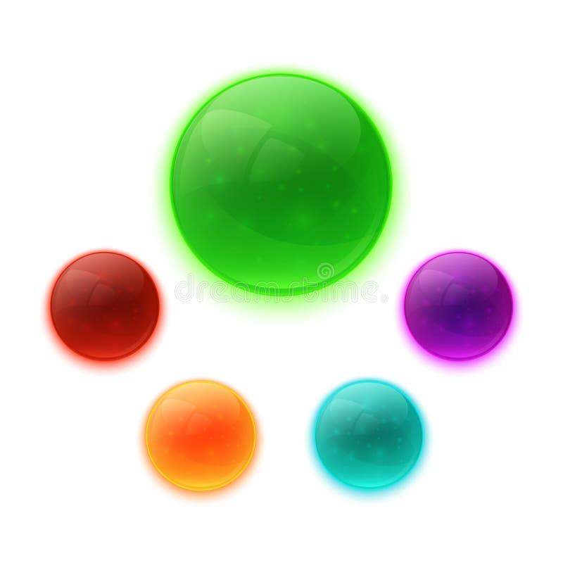 套五颜六色的光滑的按钮 皇族释放例证