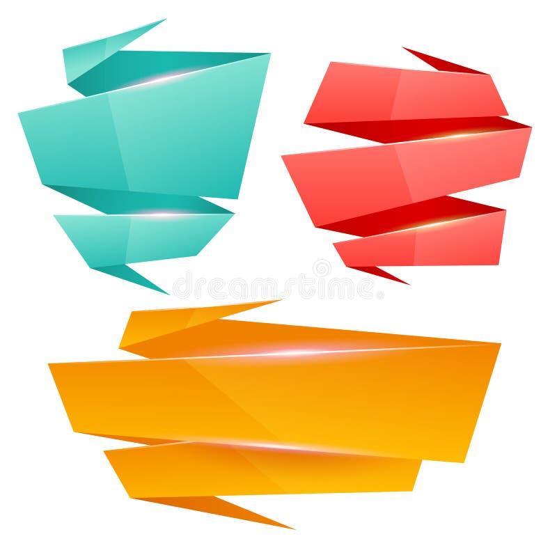 套五颜六色的光滑的origami横幅