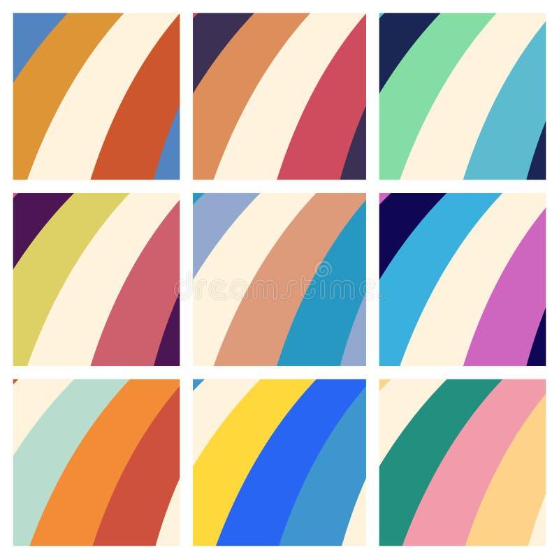 套五颜六色的减速火箭的印刷品背景 库存例证