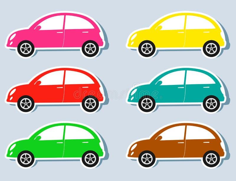 套五颜六色的减速火箭的汽车 库存例证