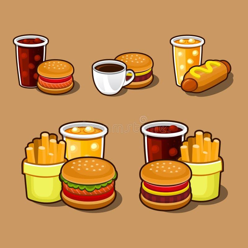 套五颜六色的动画片快餐象。 库存例证