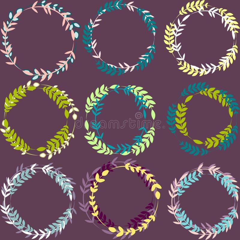 套五颜六色的叶茂盛花圈导航围绕框架 皇族释放例证