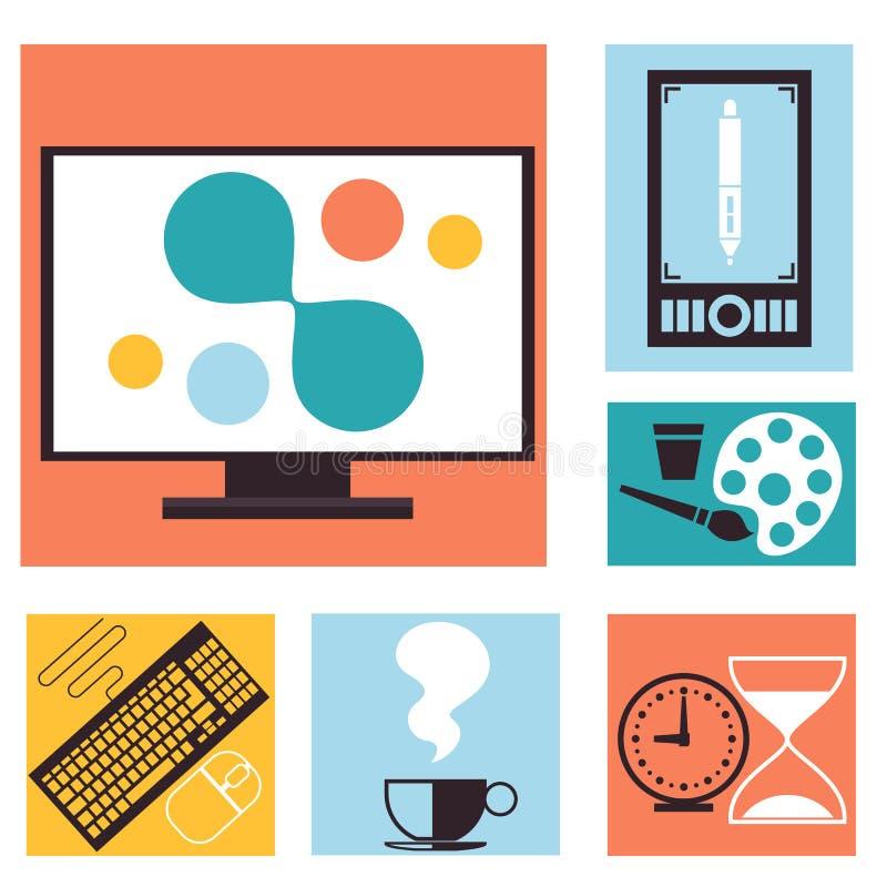 套五颜六色的图表,网络设计象 库存例证