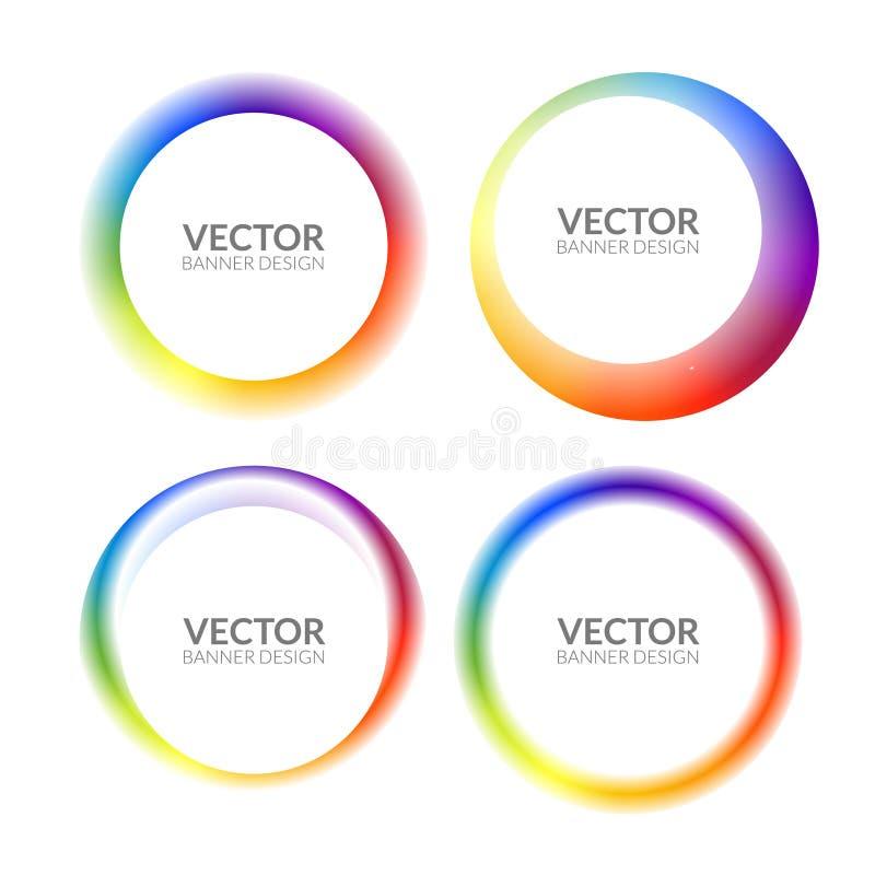 套五颜六色的圆的抽象横幅躺在了形状 图表横幅设计 标签图表乐趣标记概念 向量例证