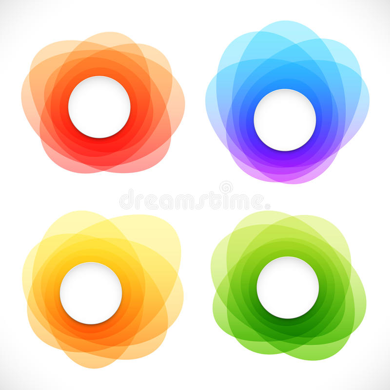 套五颜六色的圆的抽象横幅 向量例证