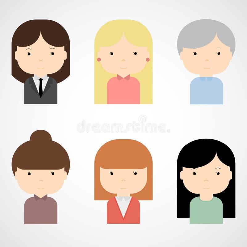 套五颜六色的女性面对象 时髦平的样式 滑稽的漫画人物 向量例证