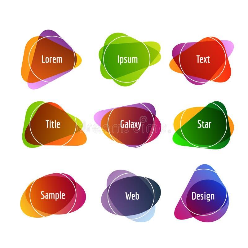 套五颜六色的抽象横幅 与覆盖物颜色的图表横幅设计 皇族释放例证