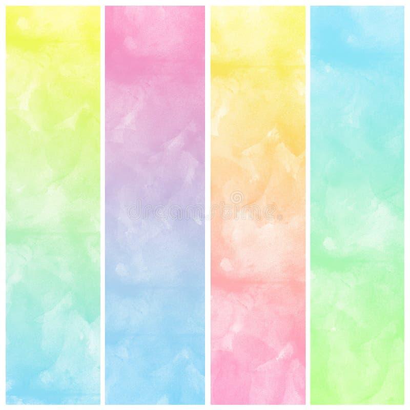 套五颜六色的抽象水彩艺术油漆 库存例证