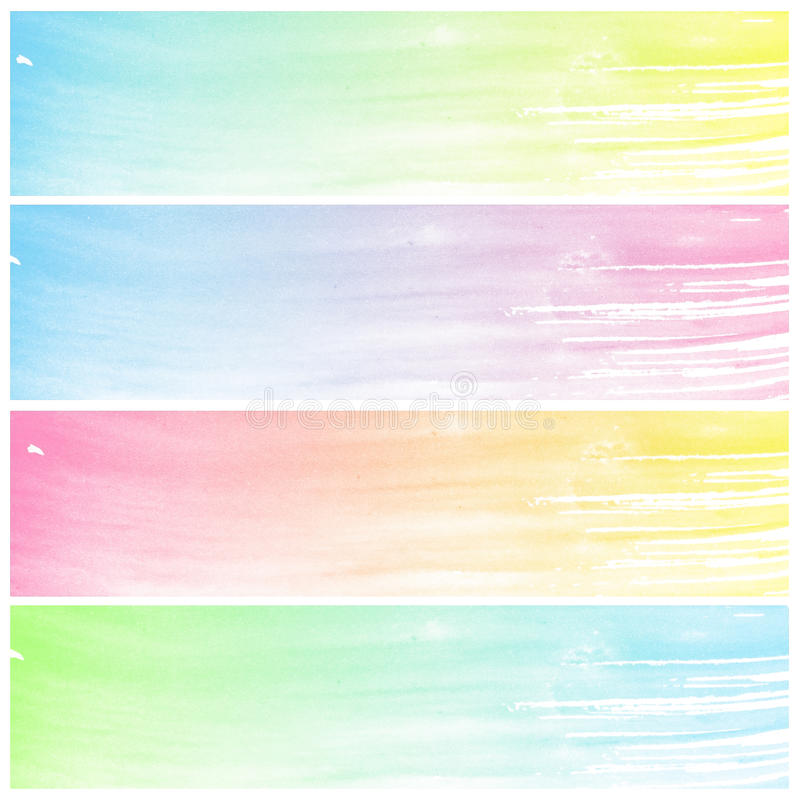 套五颜六色的抽象水彩艺术 库存例证