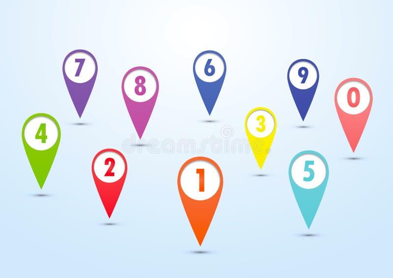 套五颜六色的映射的别针 库存例证