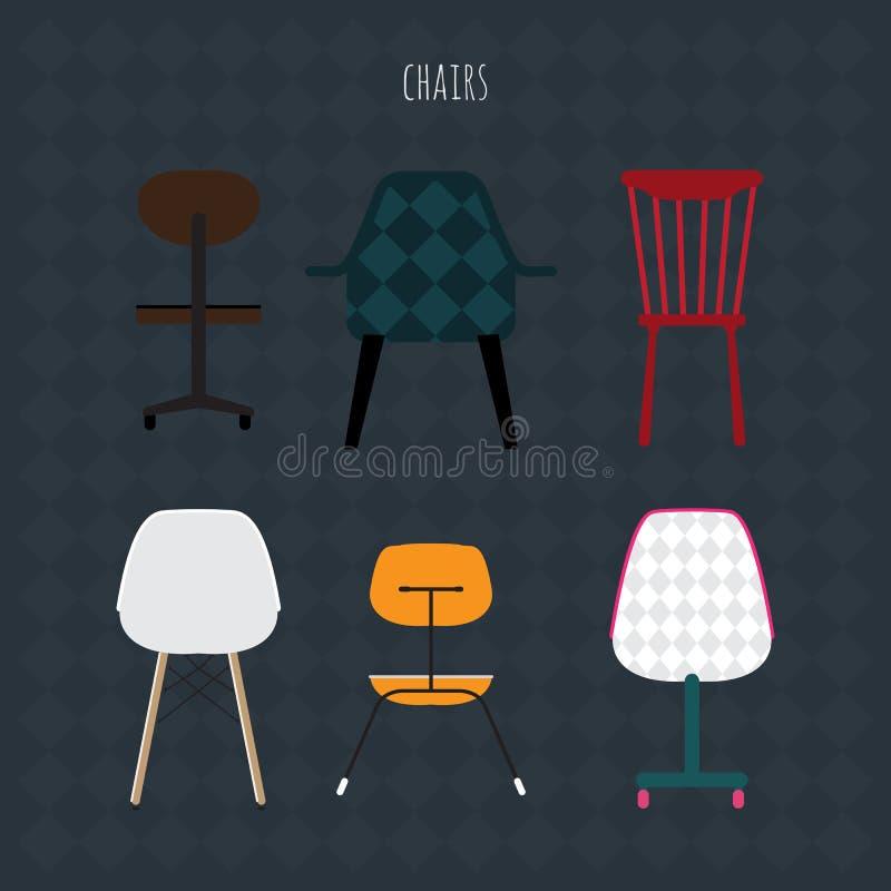 套五颜六色的椅子 传染媒介平的例证 库存例证