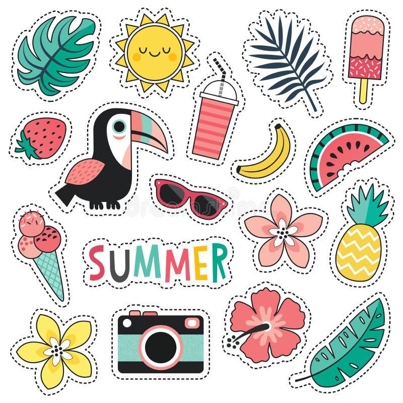 套五颜六色的热带夏天修补toucan脸红桃红色薄菏 库存例证