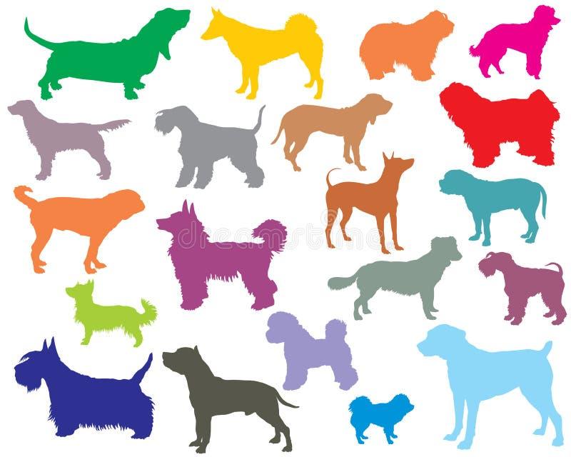 套五颜六色的狗剪影5 向量例证