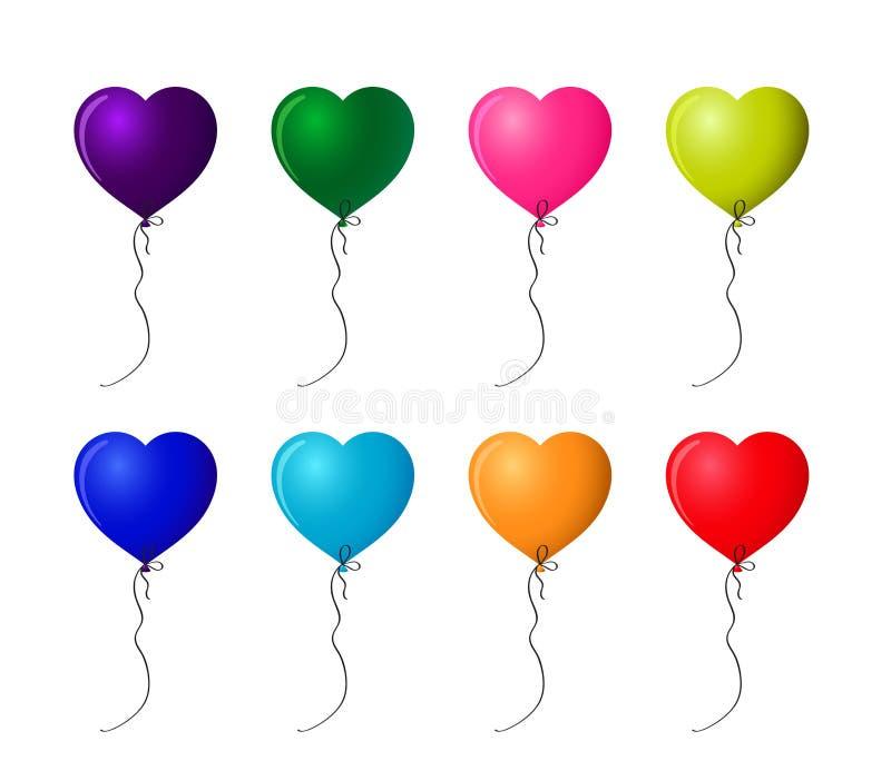 套五颜六色的现实氦气心形的气球 皇族释放例证